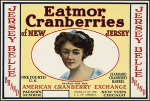 "The cranberry cooperative founded by Joseph White was eventually renamed ""Eatmor"" and was part of the foundation of the marketing cooperative, Ocean Spray. Labels were coded by color, names, etc. For instance, the light yellow background meant the berries were from New Jersey. Other features told the variety, size, color, and quality of the berries in a particular barrel or box."